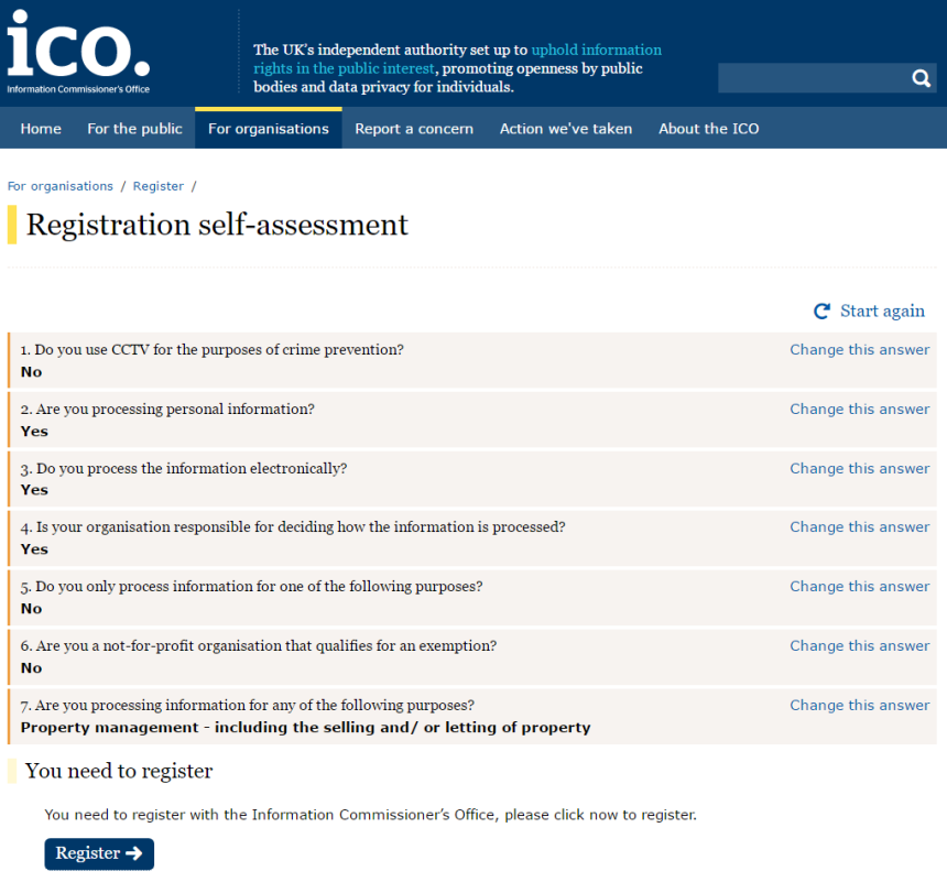 Registration self assessment ICO