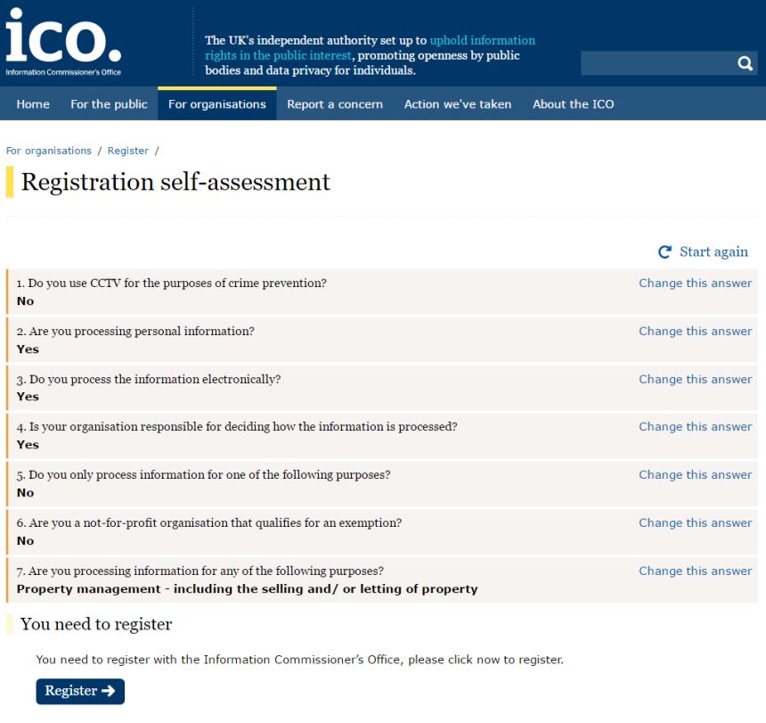 Registration self assessment ICO